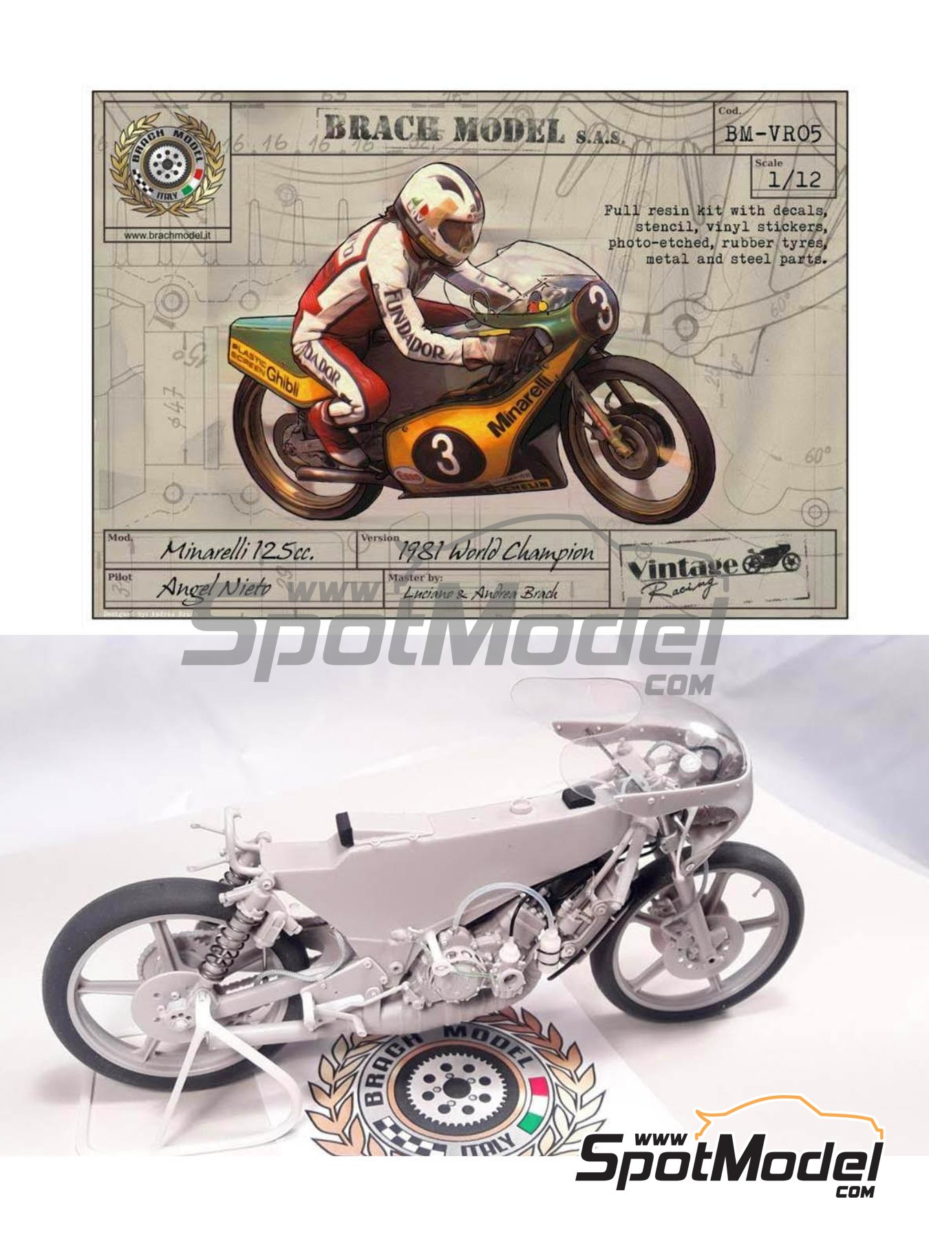 Minarelli 125cc - Motorcycle World Championship 1981 | Model bike kit in 1/12 scale manufactured by Brach Model (ref. BM-VR05) image