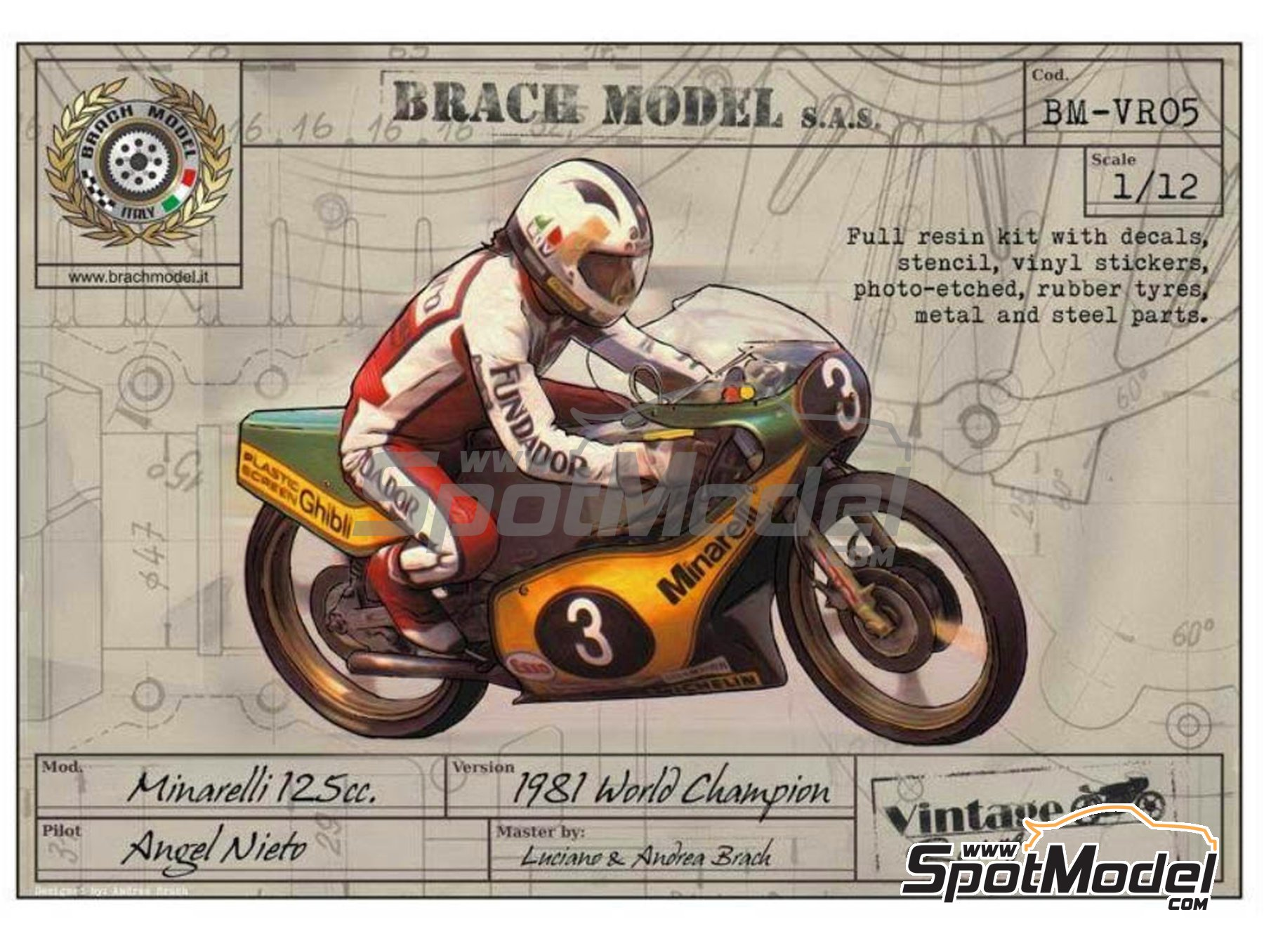 Image 1: Minarelli 125cc - Motorcycle World Championship 1981 | Model bike kit in 1/12 scale manufactured by Brach Model (ref. BM-VR05)