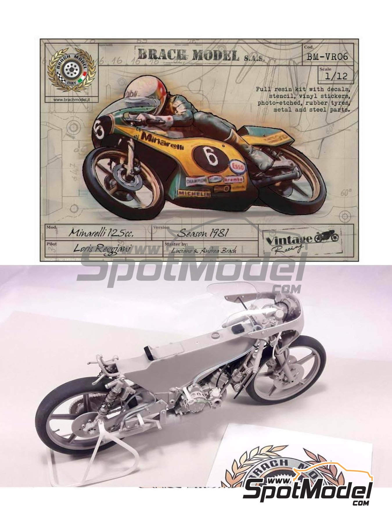 Minarelli 125cc - Motorcycle World Championship 1981 | Model bike kit in 1/12 scale manufactured by Brach Model (ref. BM-VR06) image