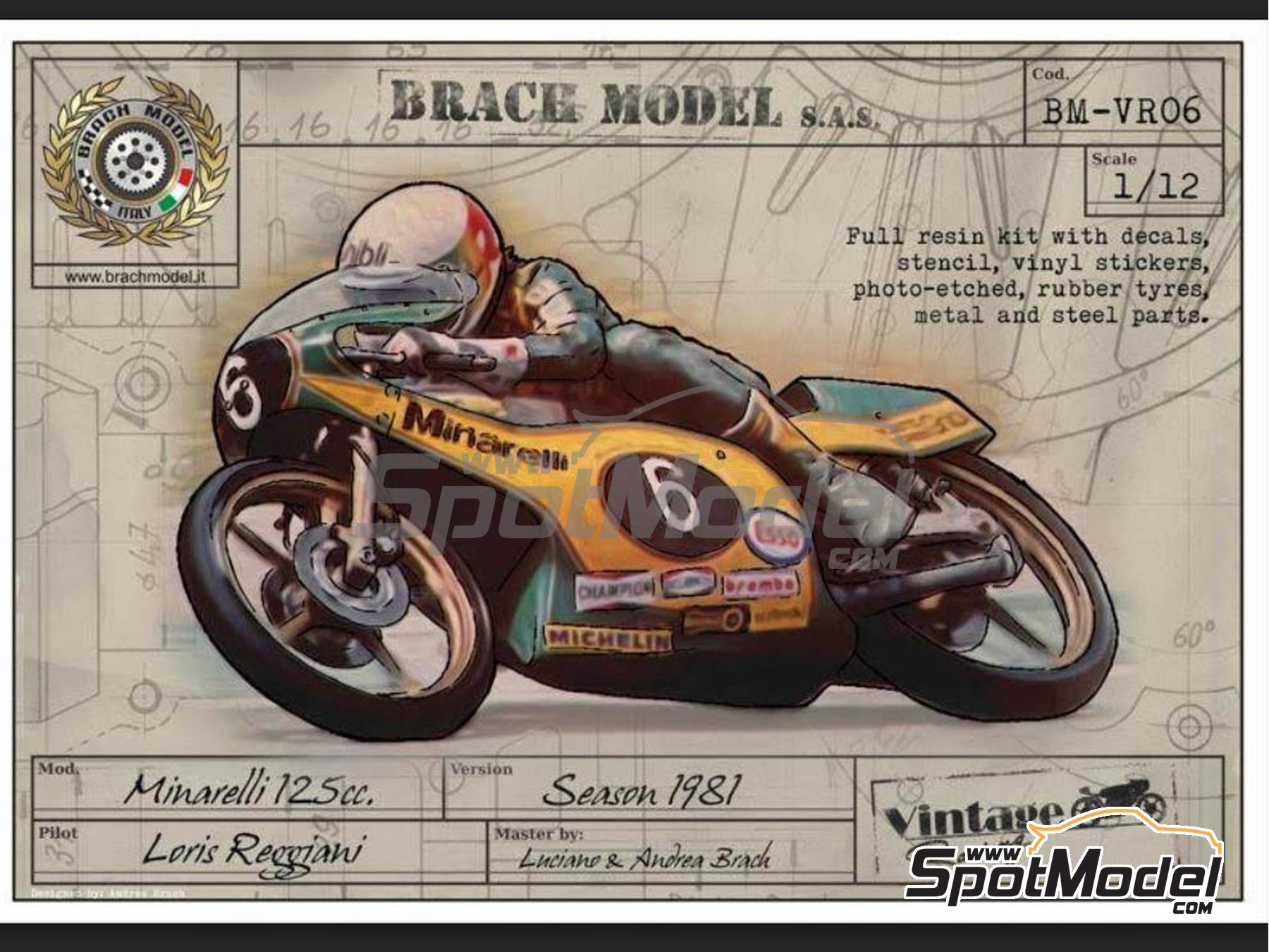 Image 1: Minarelli 125cc - Motorcycle World Championship 1981 | Model bike kit in 1/12 scale manufactured by Brach Model (ref. BM-VR06)