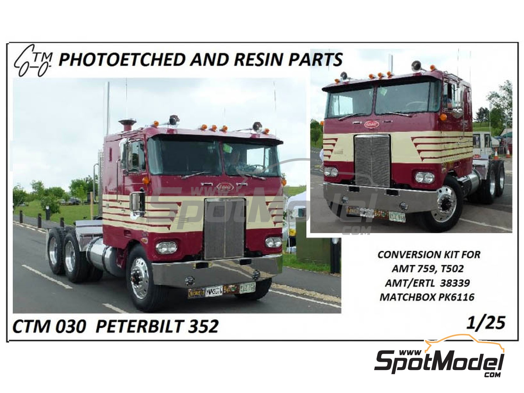 Image 1: Peterbilt 352 | Detail up set in 1/25 scale manufactured by Czech Truck Model (ref.CTM030)