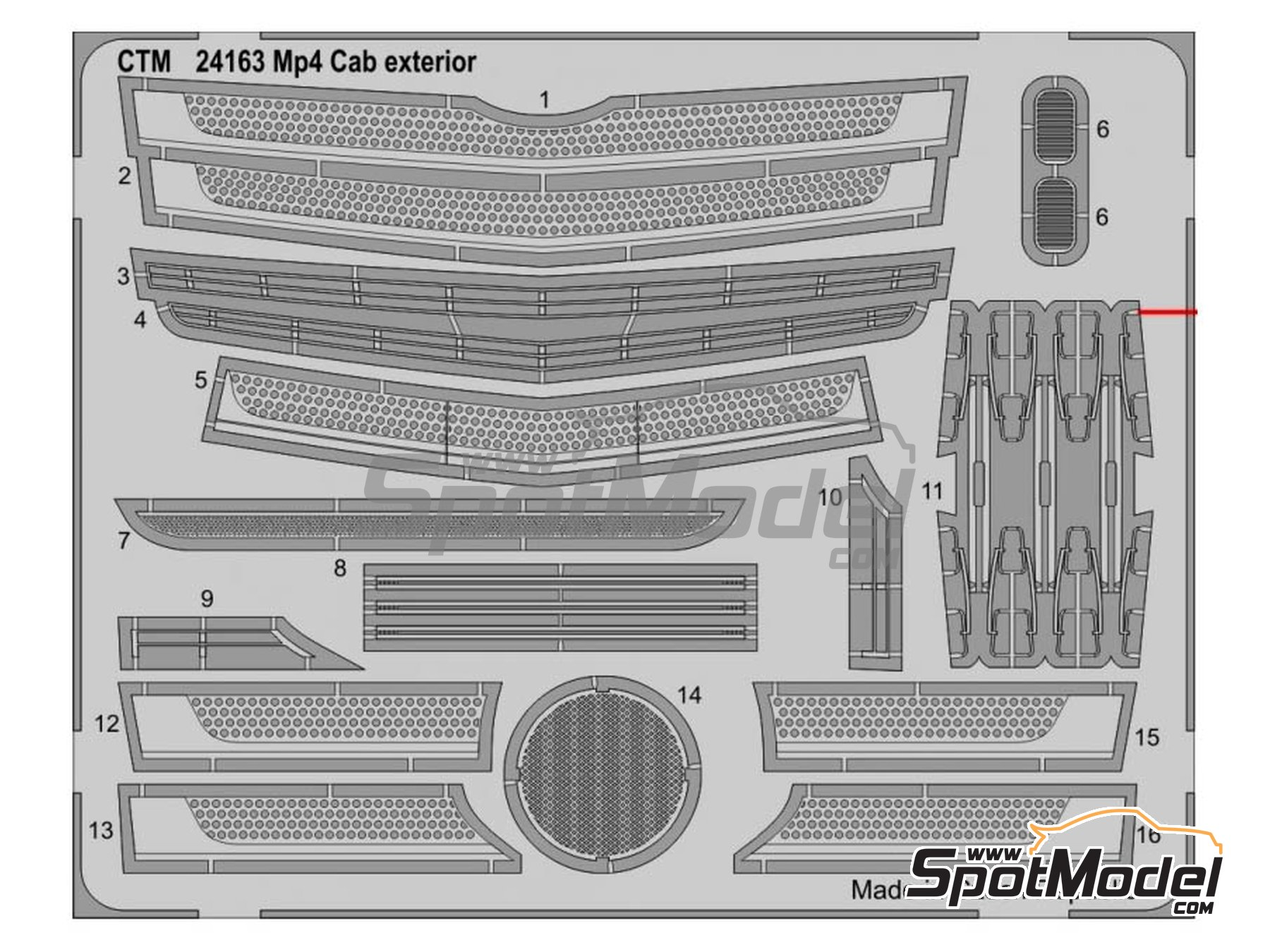 Image 8: Mercedes Benz Actros Gigaspace MP4 | Detail up set in 1/24 scale manufactured by Czech Truck Model (ref. CTM035)