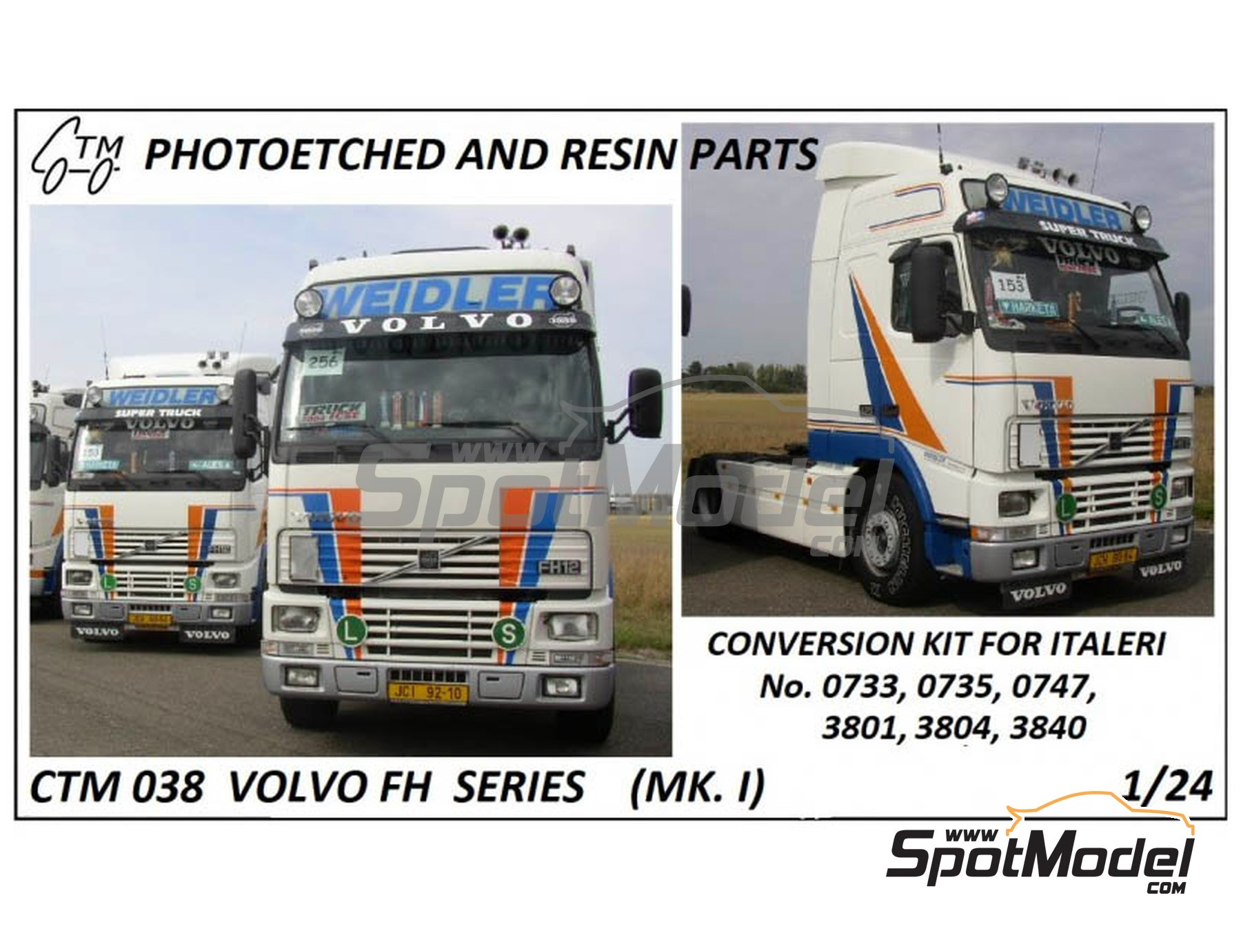 Image 1: Volvo FH12 / FH16 | Detail up set in 1/24 scale manufactured by Czech Truck Model (ref. CTM038)
