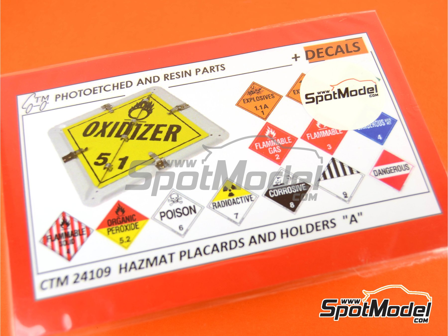 Image 1: HAZMAT - Hazardous materials and items: holders and placards | Detail up set in 1/24 scale manufactured by Czech Truck Model (ref. CTM24109)