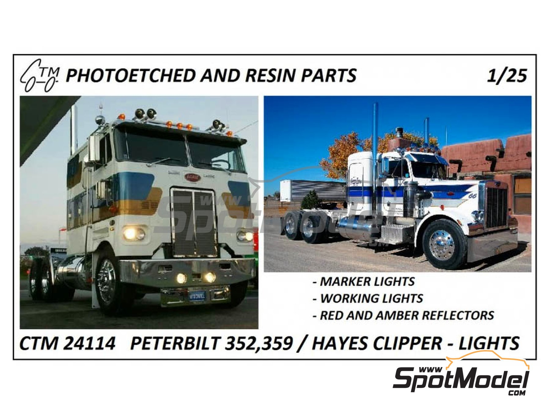 Image 1: Peterbilt 359 conventional and 352 and Hayes | Lights in 1/25 scale manufactured by Czech Truck Model (ref. CTM24114)