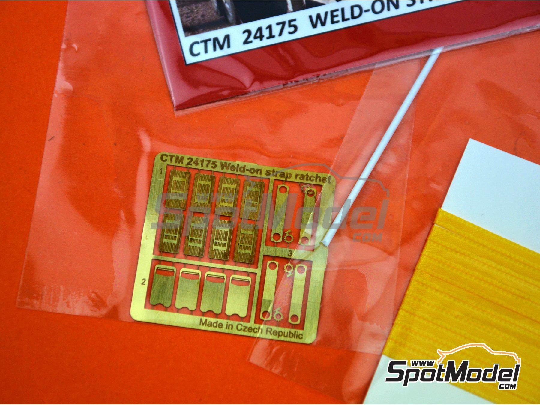Image 3: Correas de amarre de color amarillo con trinquete | Detalle en escala1/24 fabricado por Czech Truck Model (ref.CTM24175-B)