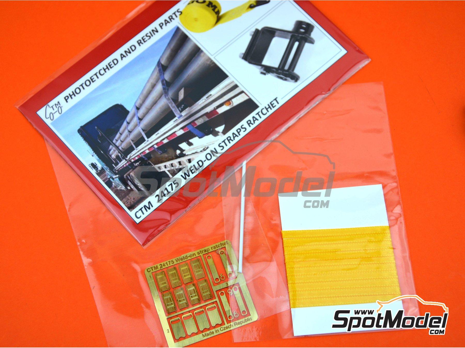 Image 4: Correas de amarre de color amarillo con trinquete | Detalle en escala1/24 fabricado por Czech Truck Model (ref.CTM24175-B)