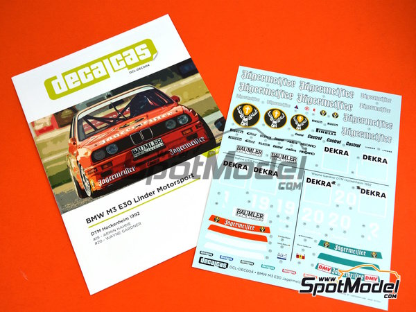 Image 5: BMW M3 E30 - DTM Hockenheim 1992 | Marking / livery in 1/24 scale manufactured by Decalcas (ref. DCL-DEC004)