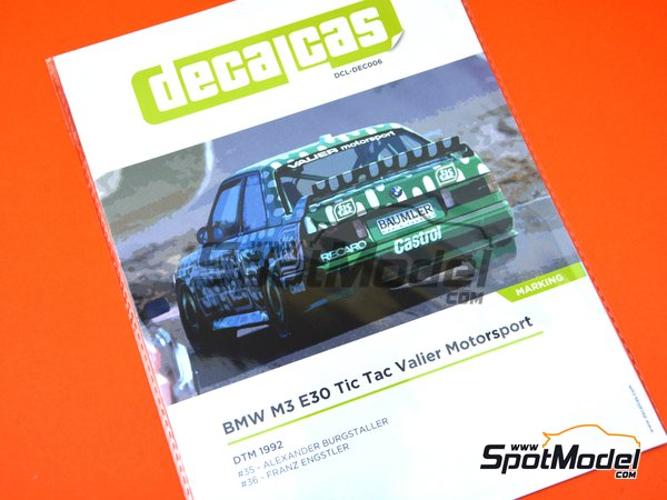 Image 16: BMW M3 E30 Tic Tac Valier Motorsport - DTM 1992 | Marking / livery in 1/24 scale manufactured by Decalcas (ref. DCL-DEC006)