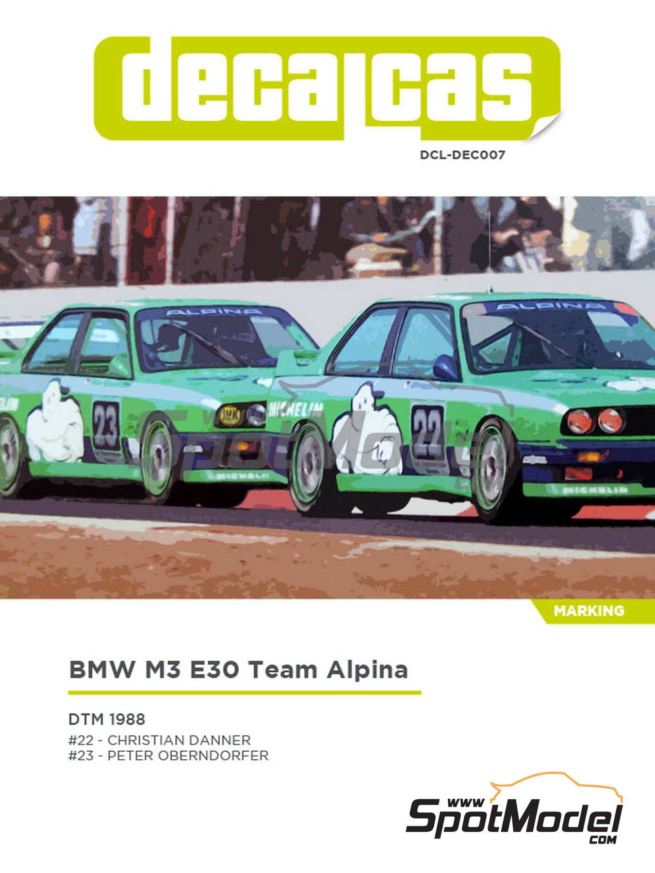 BMW M3 E30 Team Alpina - DTM 1988 | Decoración en escala 1/24 fabricado por Decalcas (ref. DCL-DEC007) image