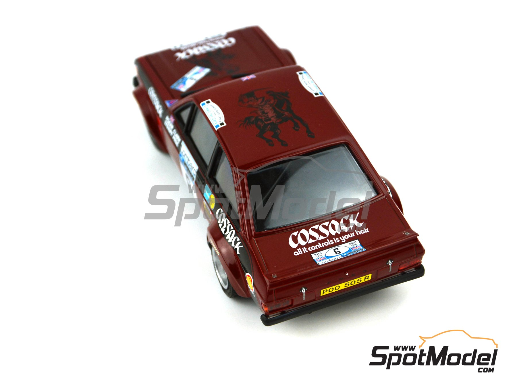 Image 2: Ford Escort Mk. II Cossack Ford Motor Co Ltd - Rally de Inglaterra RAC, Rally Internacional de Escocia, Rally Belfast Telegraph Ulster 1976 | Decoración en escala 1/24 fabricado por Decalcas (ref. DCL-DEC008)