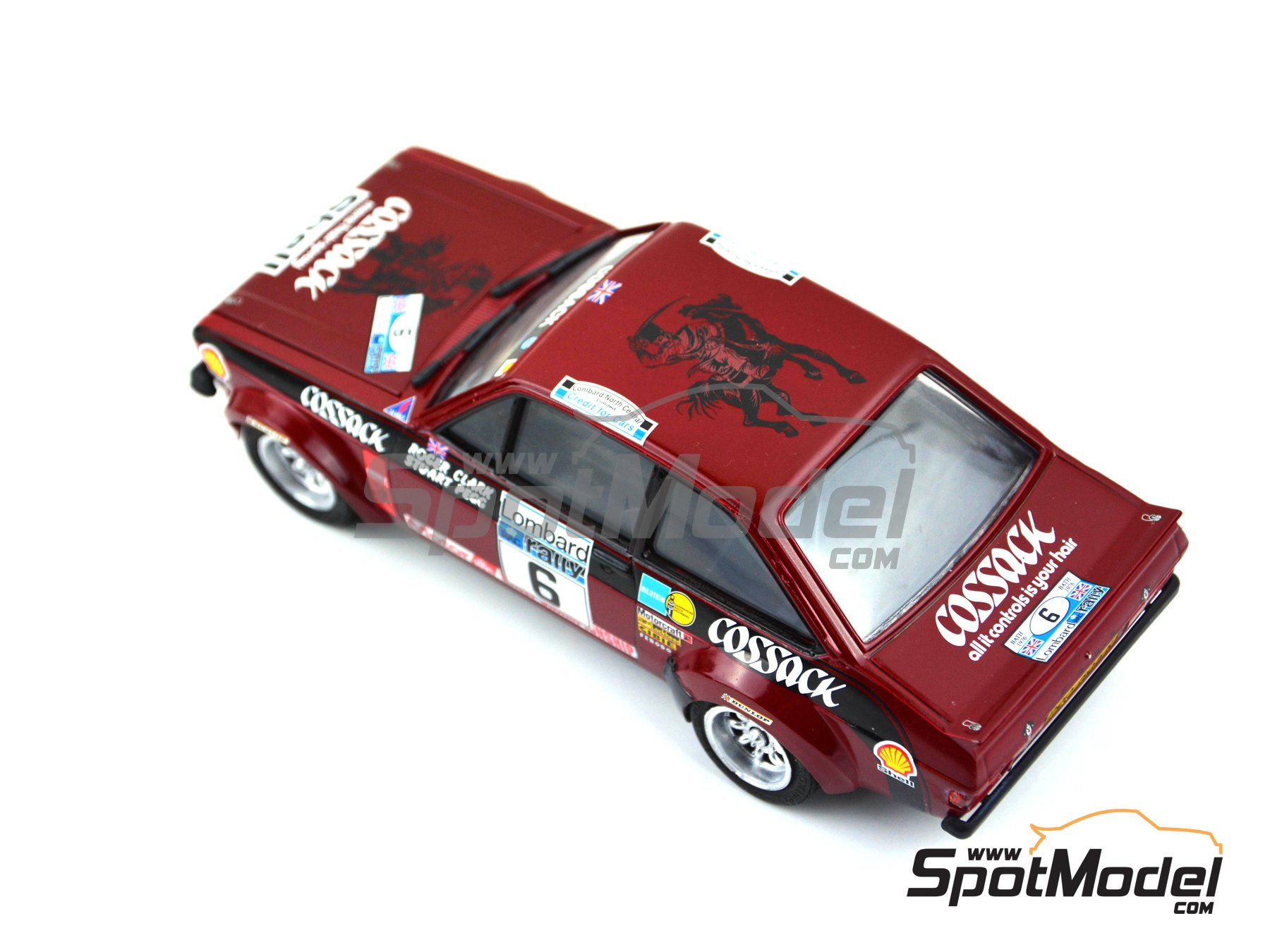 Image 3: Ford Escort Mk. II Cossack Ford Motor Co Ltd - Rally de Inglaterra RAC, Rally Internacional de Escocia, Rally Belfast Telegraph Ulster 1976 | Decoración en escala 1/24 fabricado por Decalcas (ref. DCL-DEC008)