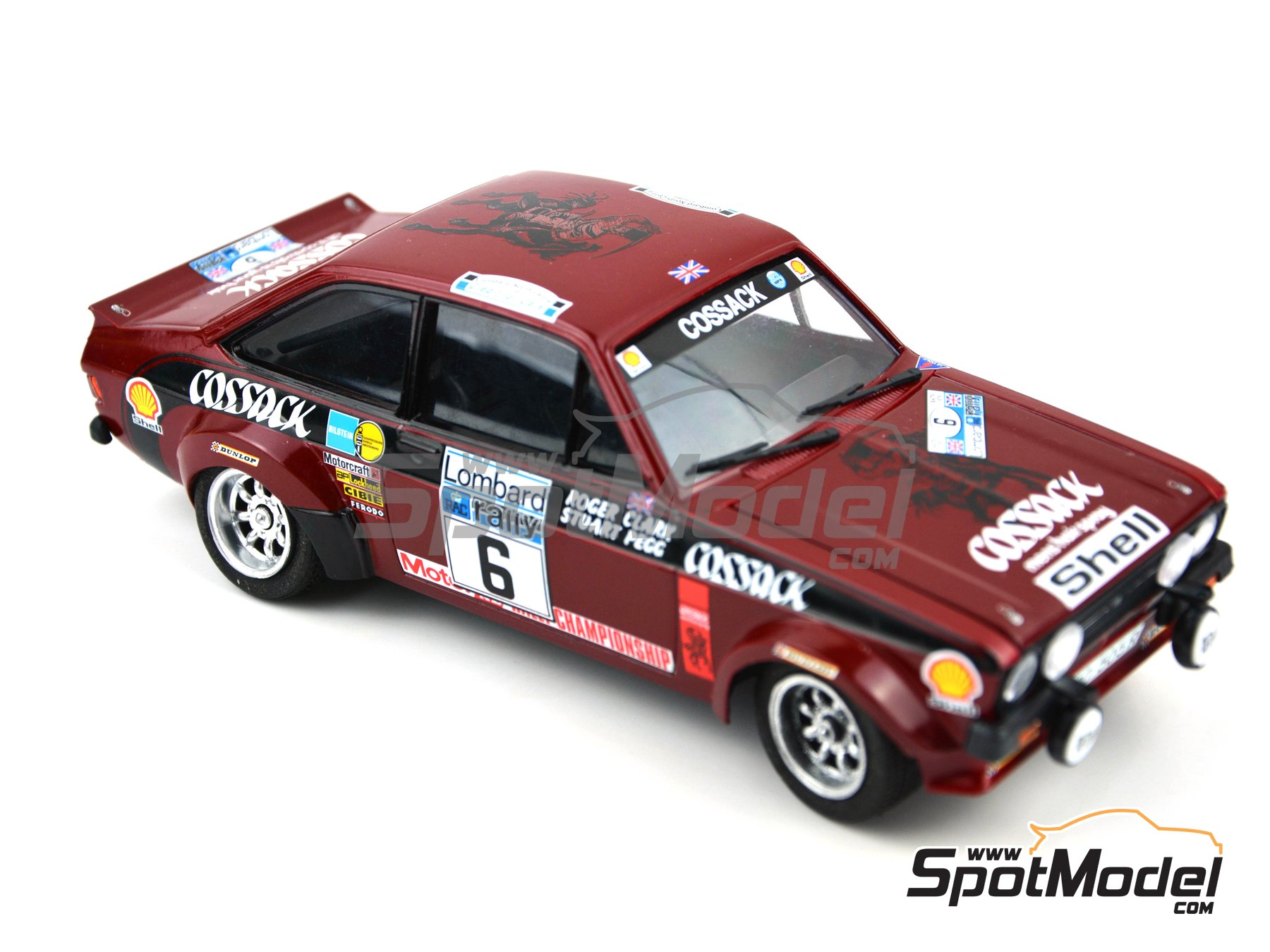 Image 8: Ford Escort Mk. II Cossack Ford Motor Co Ltd - Rally de Inglaterra RAC, Rally Internacional de Escocia, Rally Belfast Telegraph Ulster 1976 | Decoración en escala 1/24 fabricado por Decalcas (ref. DCL-DEC008)