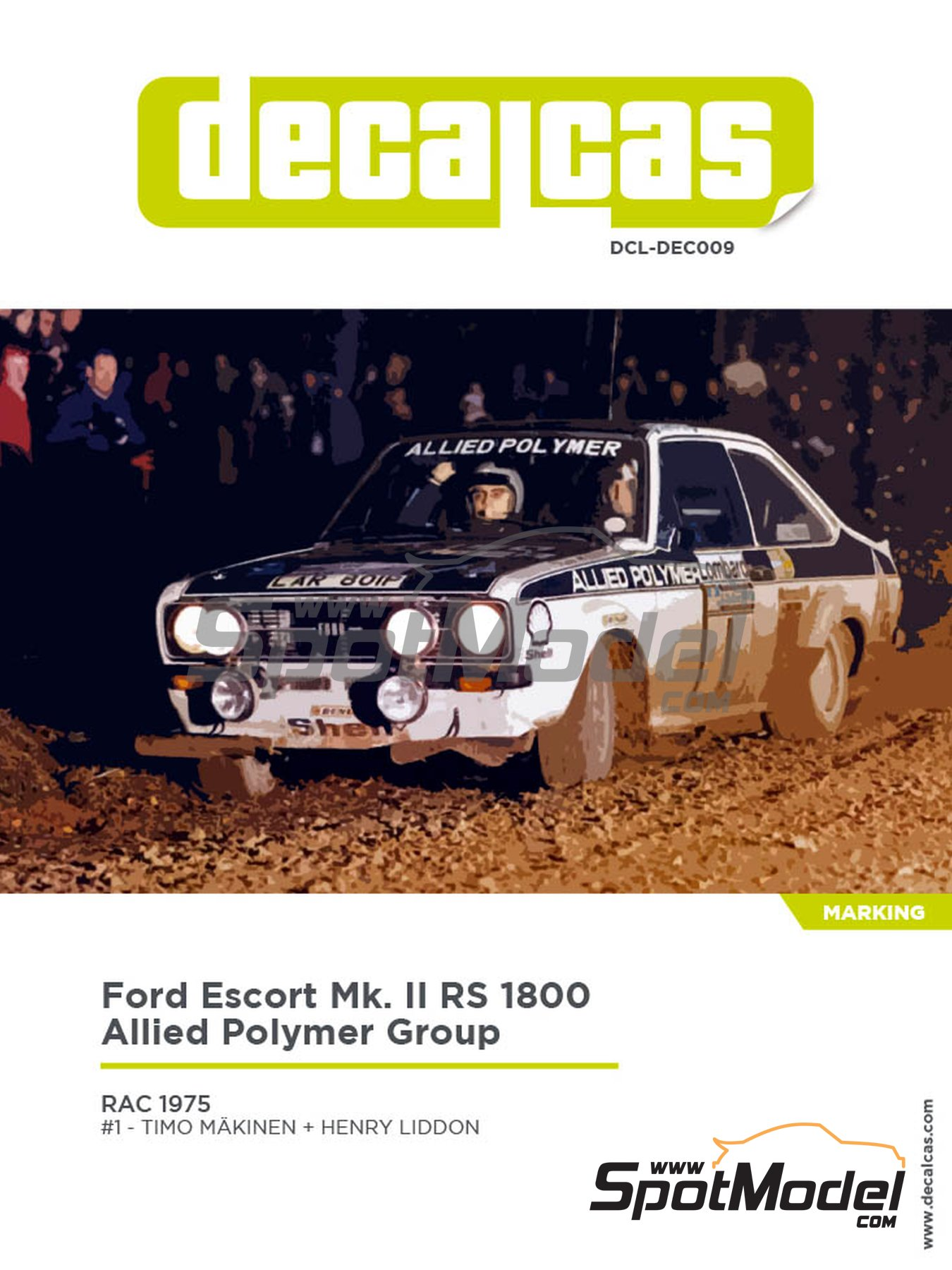Ford Escort Mk. II RS 1800 Allied Polymer Group - RAC Rally 1975 | Marking / livery in 1/24 scale manufactured by Decalcas (ref. DCL-DEC009) image