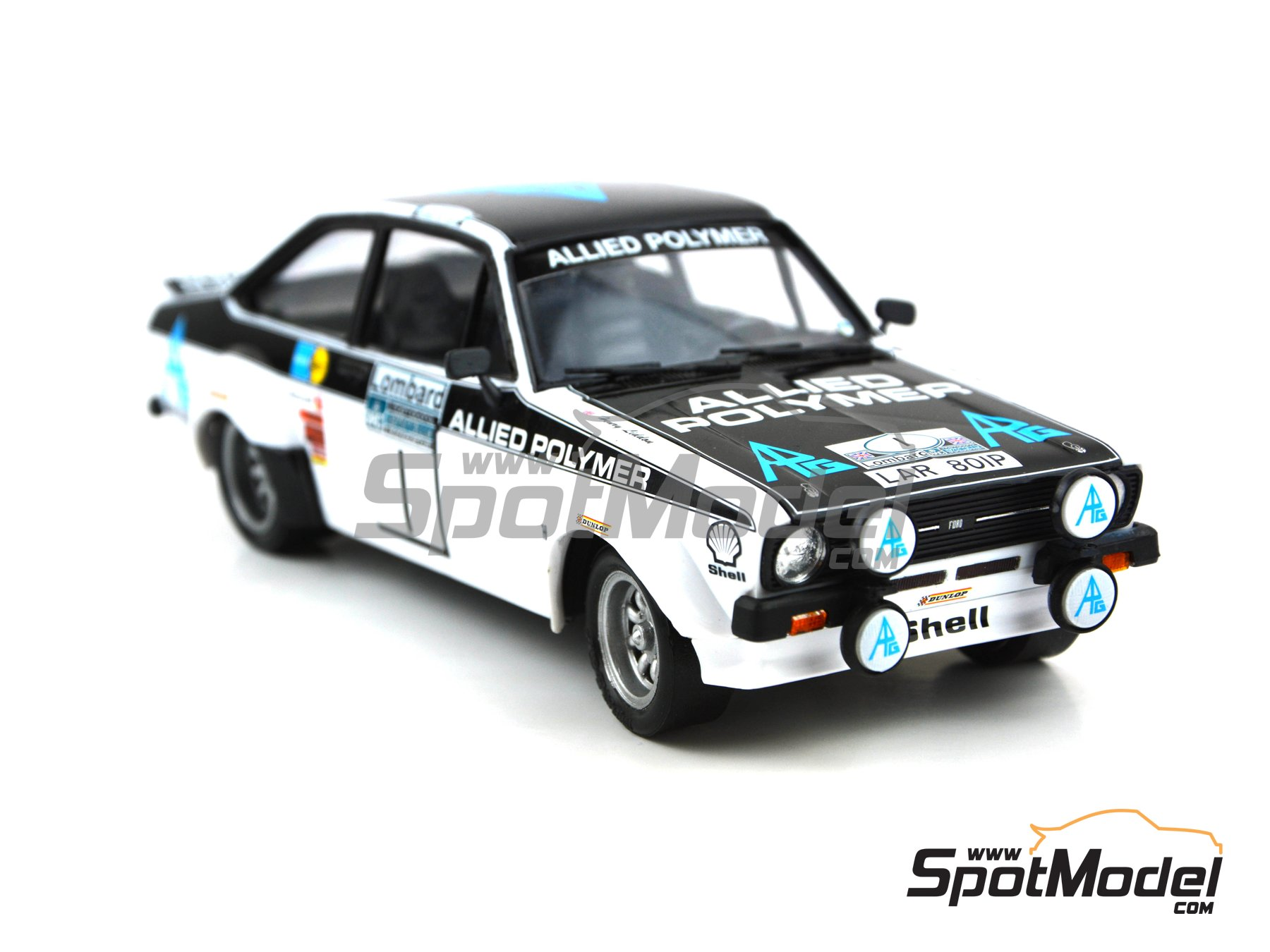 Image 4: Ford Escort Mk. II RS 1800 Allied Polymer Group - Great Britain RAC Rally 1975 | Marking / livery in 1/24 scale manufactured by Decalcas (ref.DCL-DEC009)