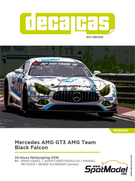 Mercedes AMG GT3 AMG Team Black Falcon - 24 Hours Nürburgring 2016 | Marking / livery in 1/24 scale manufactured by Decalcas (ref. DCL-DEC010) image
