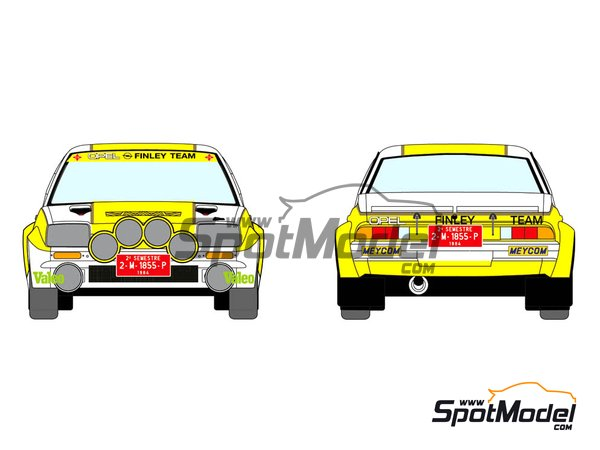 Image 1: Opel Manta 400 Group B Opel Finley Team - Rallye Catalunya 1984 | Marking / livery in 1/24 scale manufactured by Decalcas (ref. DCL-DEC011)