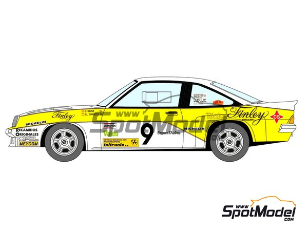 Image 2: Opel Manta 400 Group B Opel Finley Team - Rallye Catalunya 1984 | Marking / livery in 1/24 scale manufactured by Decalcas (ref. DCL-DEC011)