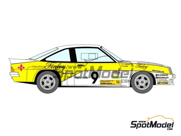 Image 3: Opel Manta 400 Grupo B Opel Finley Team - Rally Cataluña 1984 | Decoración en escala 1/24 fabricado por Decalcas (ref. DCL-DEC011)