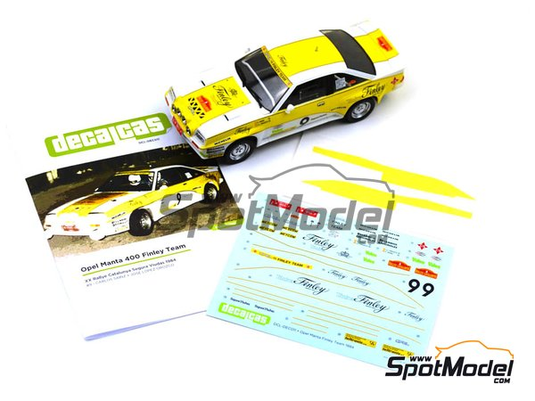 Image 5: Opel Manta 400 Grupo B Opel Finley Team - Rally Cataluña 1984 | Decoración en escala 1/24 fabricado por Decalcas (ref. DCL-DEC011)