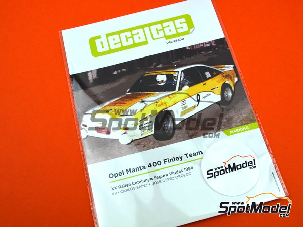 Image 11: Opel Manta 400 Grupo B Opel Finley Team - Rally Cataluña 1984 | Decoración en escala 1/24 fabricado por Decalcas (ref. DCL-DEC011)