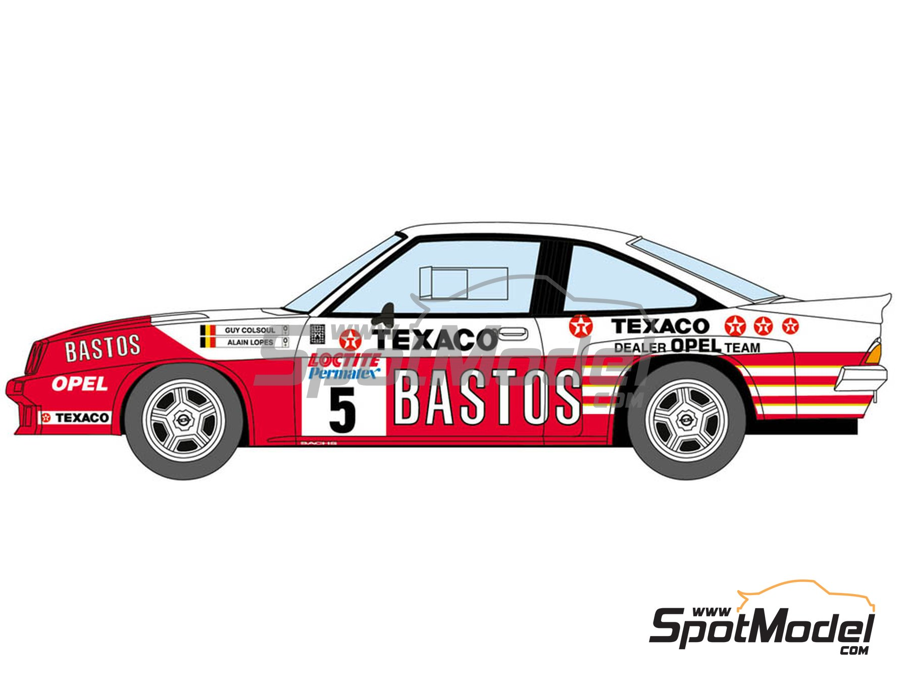 Image 1: Opel Manta 400 Group B Bastos Texaco Rally Team - 24 Hours de Ypres Rally, Condroz Rally, Haspengow Rally 1985 | Marking / livery in 1/24 scale manufactured by Decalcas (ref. DCL-DEC012)