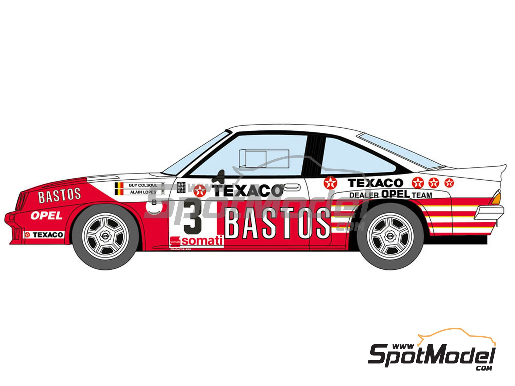 Image 2: Opel Manta 400 Group B Bastos Texaco Rally Team - 24 Hours de Ypres Rally, Condroz Rally, Haspengow Rally 1985 | Marking / livery in 1/24 scale manufactured by Decalcas (ref. DCL-DEC012)