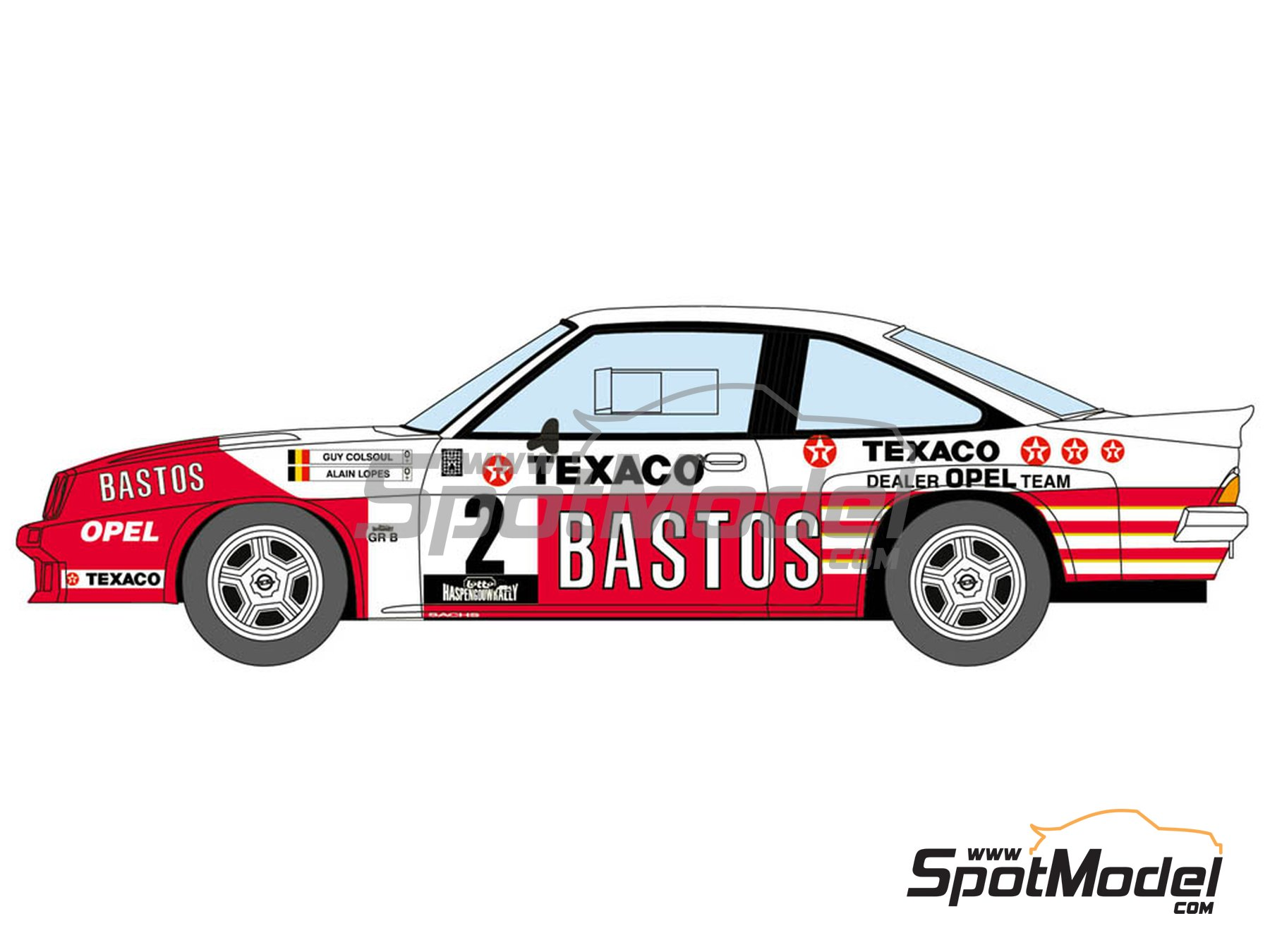 Image 3: Opel Manta 400 Group B Bastos Texaco Rally Team - 24 Hours de Ypres Rally, Condroz Rally, Haspengow Rally 1985 | Marking / livery in 1/24 scale manufactured by Decalcas (ref. DCL-DEC012)