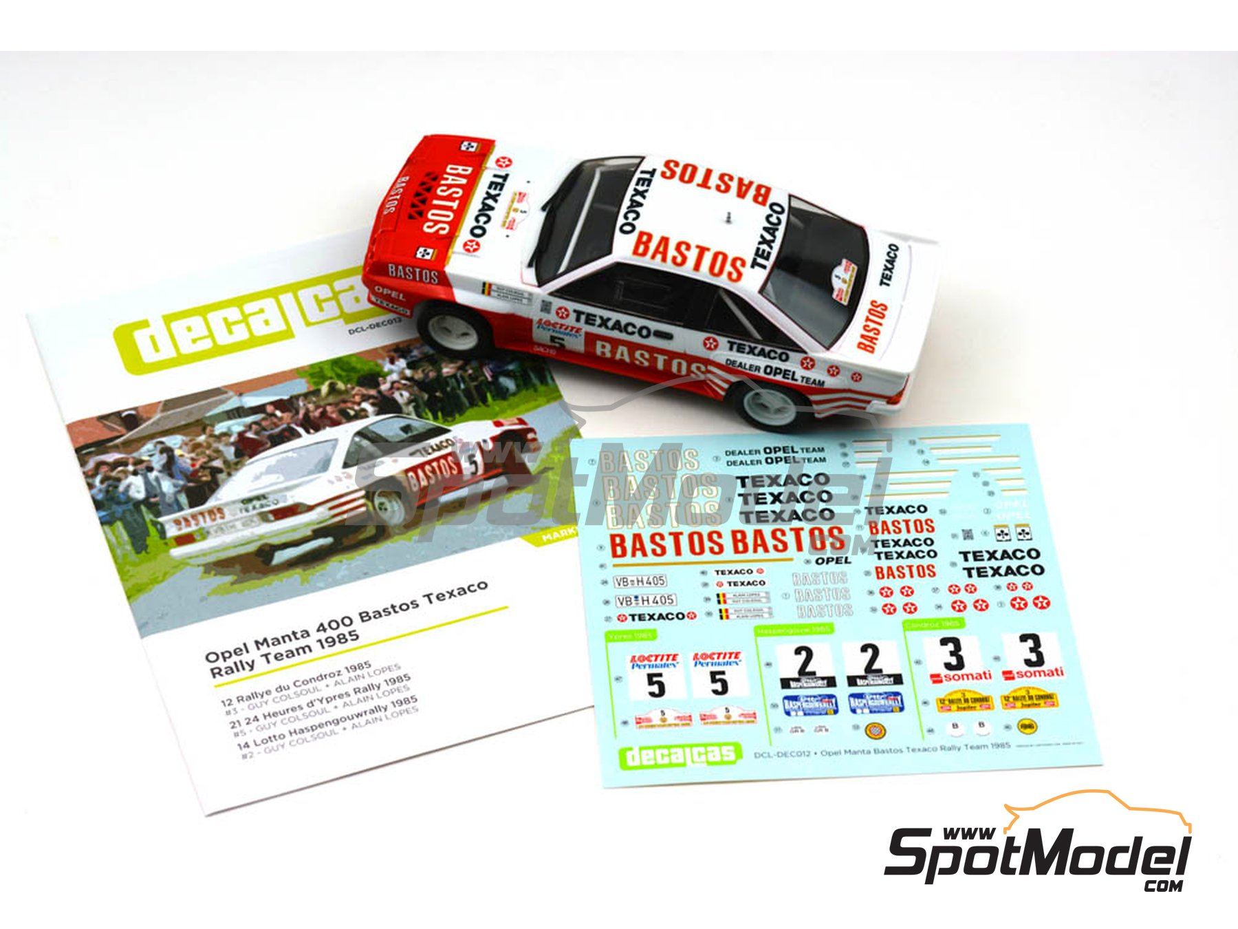 Image 5: Opel Manta 400 Group B Bastos Texaco Rally Team - 24 Hours de Ypres Rally, Condroz Rally, Haspengow Rally 1985 | Marking / livery in 1/24 scale manufactured by Decalcas (ref. DCL-DEC012)