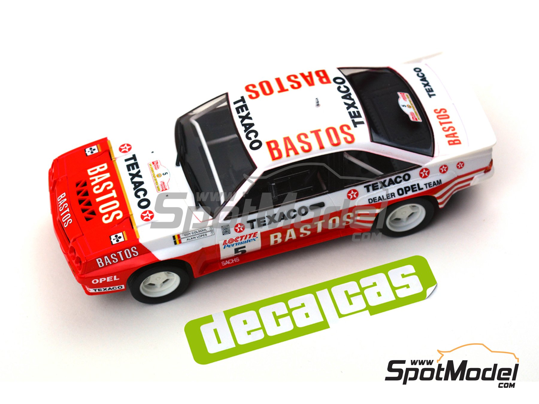 Image 6: Opel Manta 400 Group B Bastos Texaco Rally Team - 24 Hours de Ypres Rally, Condroz Rally, Haspengow Rally 1985 | Marking / livery in 1/24 scale manufactured by Decalcas (ref. DCL-DEC012)