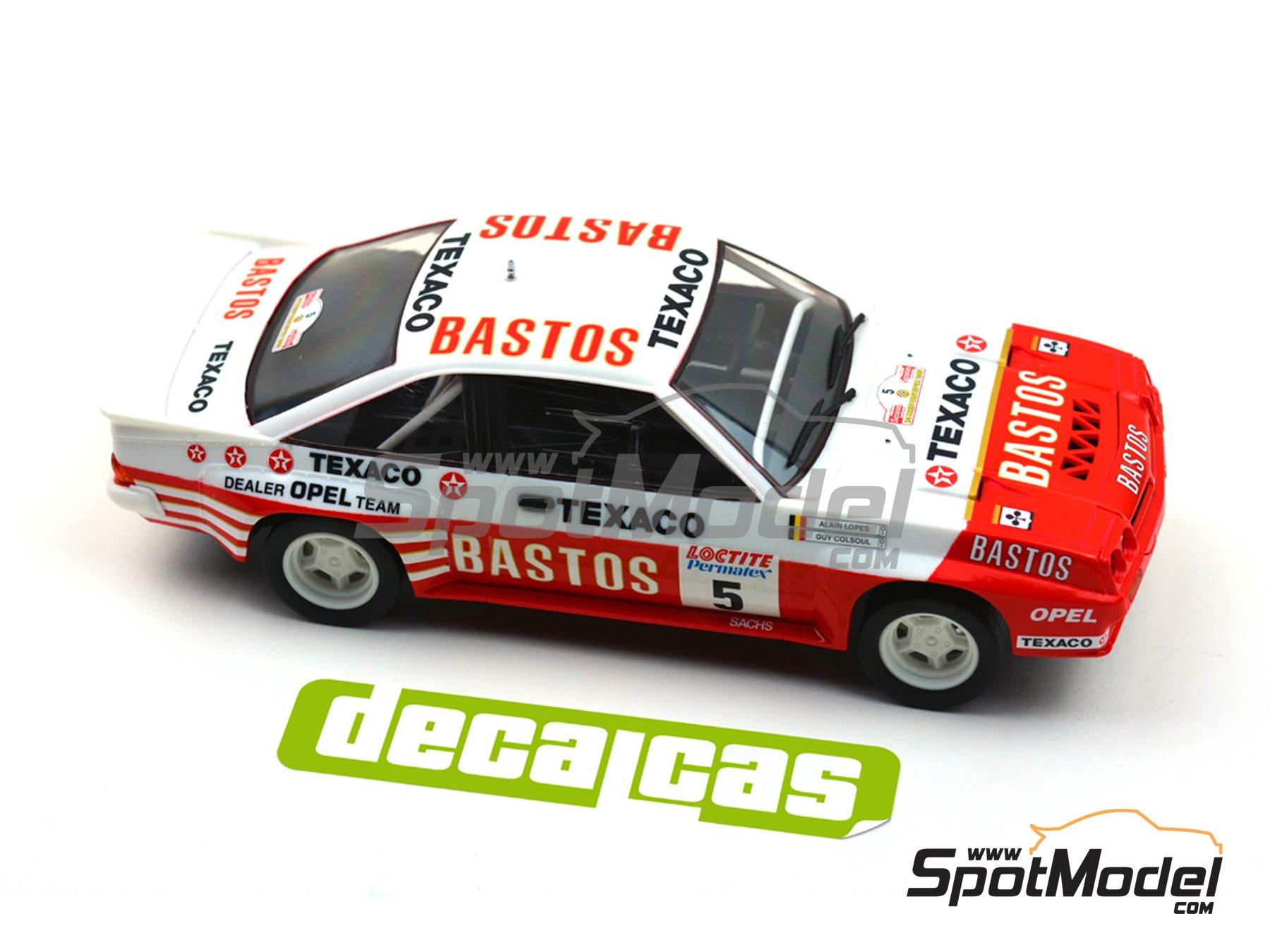 Image 8: Opel Manta 400 Group B Bastos Texaco Rally Team - 24 Hours de Ypres Rally, Condroz Rally, Haspengow Rally 1985 | Marking / livery in 1/24 scale manufactured by Decalcas (ref. DCL-DEC012)