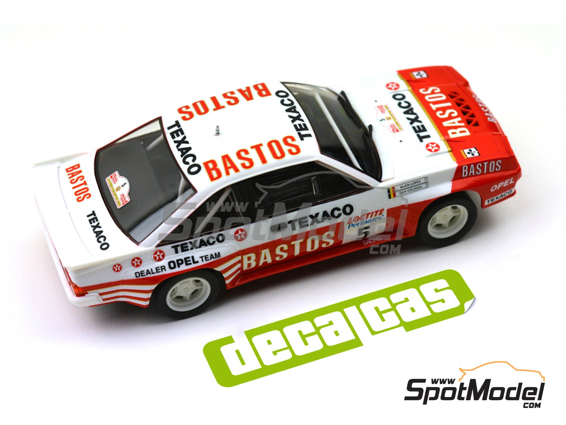Image 9: Opel Manta 400 Group B Bastos Texaco Rally Team - 24 Hours de Ypres Rally, Condroz Rally, Haspengow Rally 1985 | Marking / livery in 1/24 scale manufactured by Decalcas (ref. DCL-DEC012)