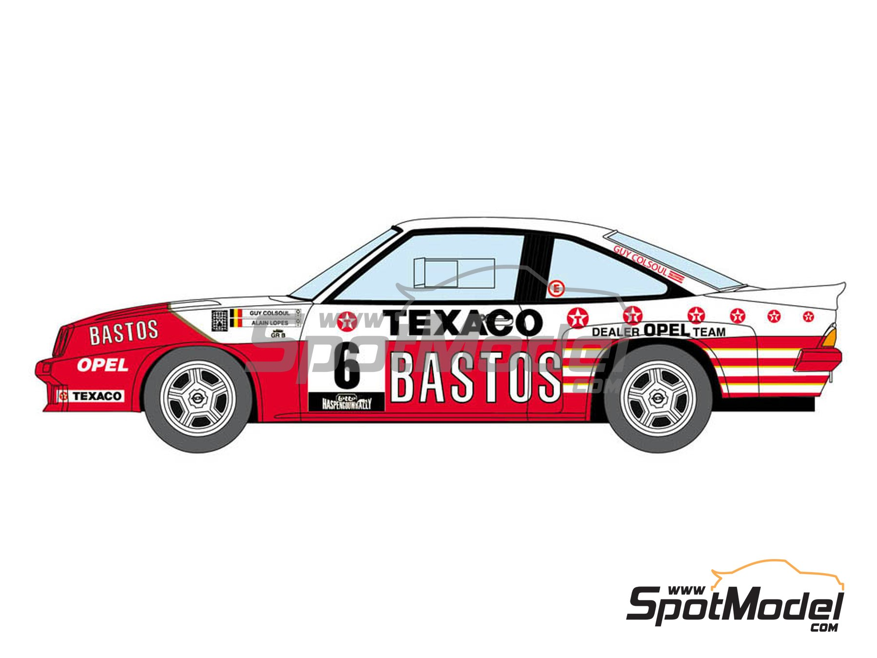 Image 1: Opel Manta 400 Group B Bastos Texaco Rally Team - 24 Hours de Ypres Rally, Condroz Rally, Haspengow Rally 1986 | Marking / livery in 1/24 scale manufactured by Decalcas (ref. DCL-DEC013)