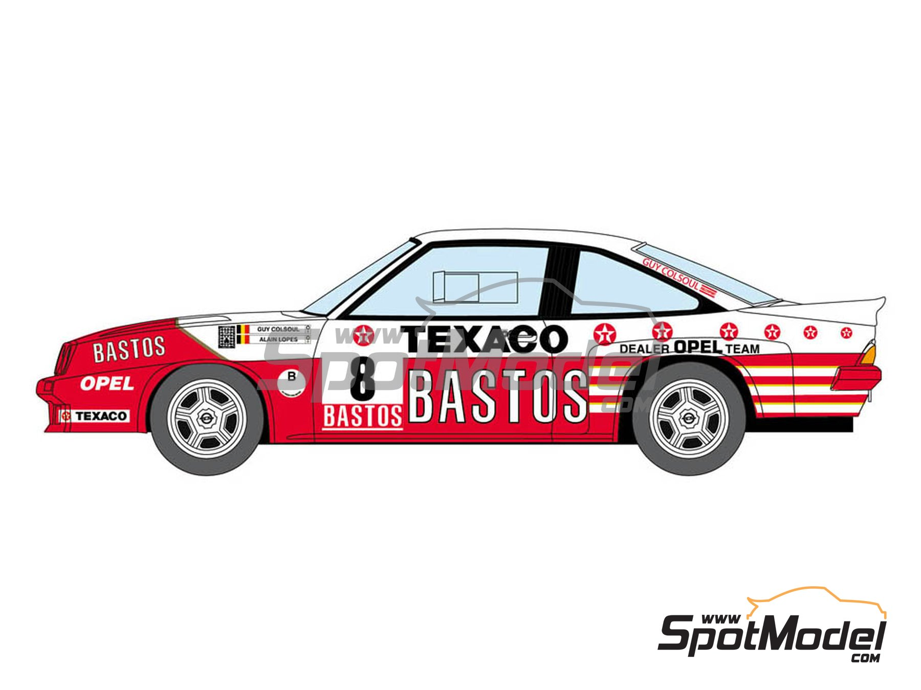Image 2: Opel Manta 400 Group B Bastos Texaco Rally Team - 24 Hours de Ypres Rally, Condroz Rally, Haspengow Rally 1986 | Marking / livery in 1/24 scale manufactured by Decalcas (ref. DCL-DEC013)