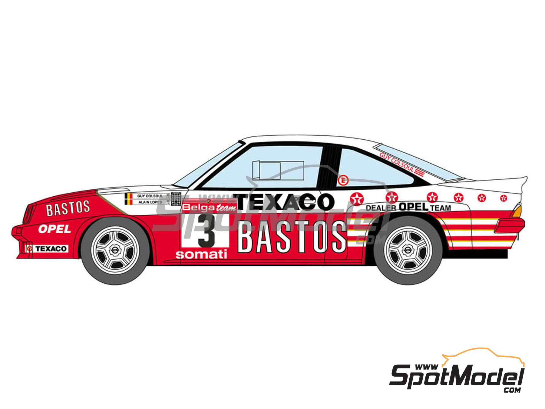Image 3: Opel Manta 400 Group B Bastos Texaco Rally Team - 24 Hours de Ypres Rally, Condroz Rally, Haspengow Rally 1986 | Marking / livery in 1/24 scale manufactured by Decalcas (ref. DCL-DEC013)