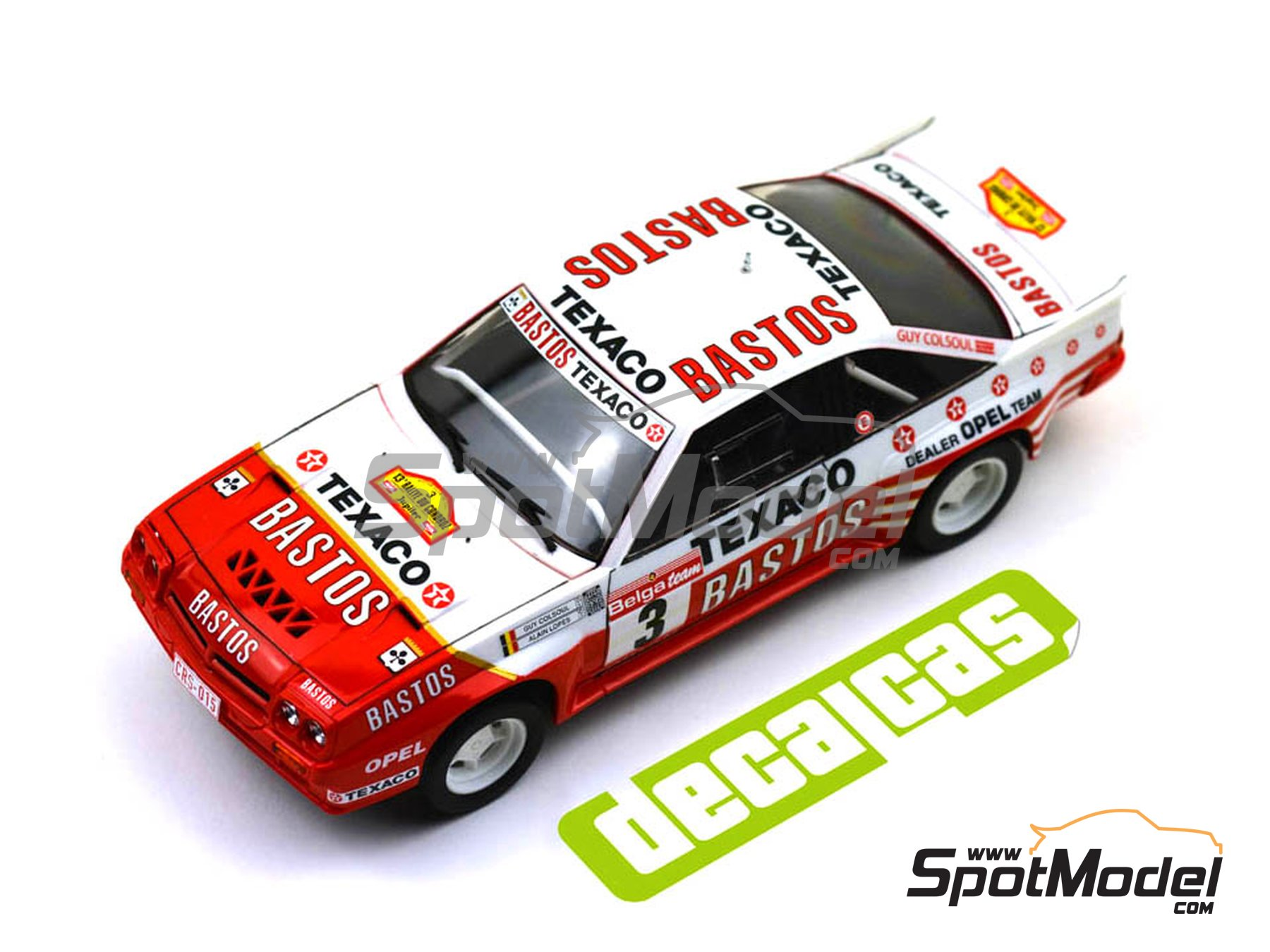 Image 5: Opel Manta 400 Group B Bastos Texaco Rally Team - 24 Hours de Ypres Rally, Condroz Rally, Haspengow Rally 1986 | Marking / livery in 1/24 scale manufactured by Decalcas (ref. DCL-DEC013)