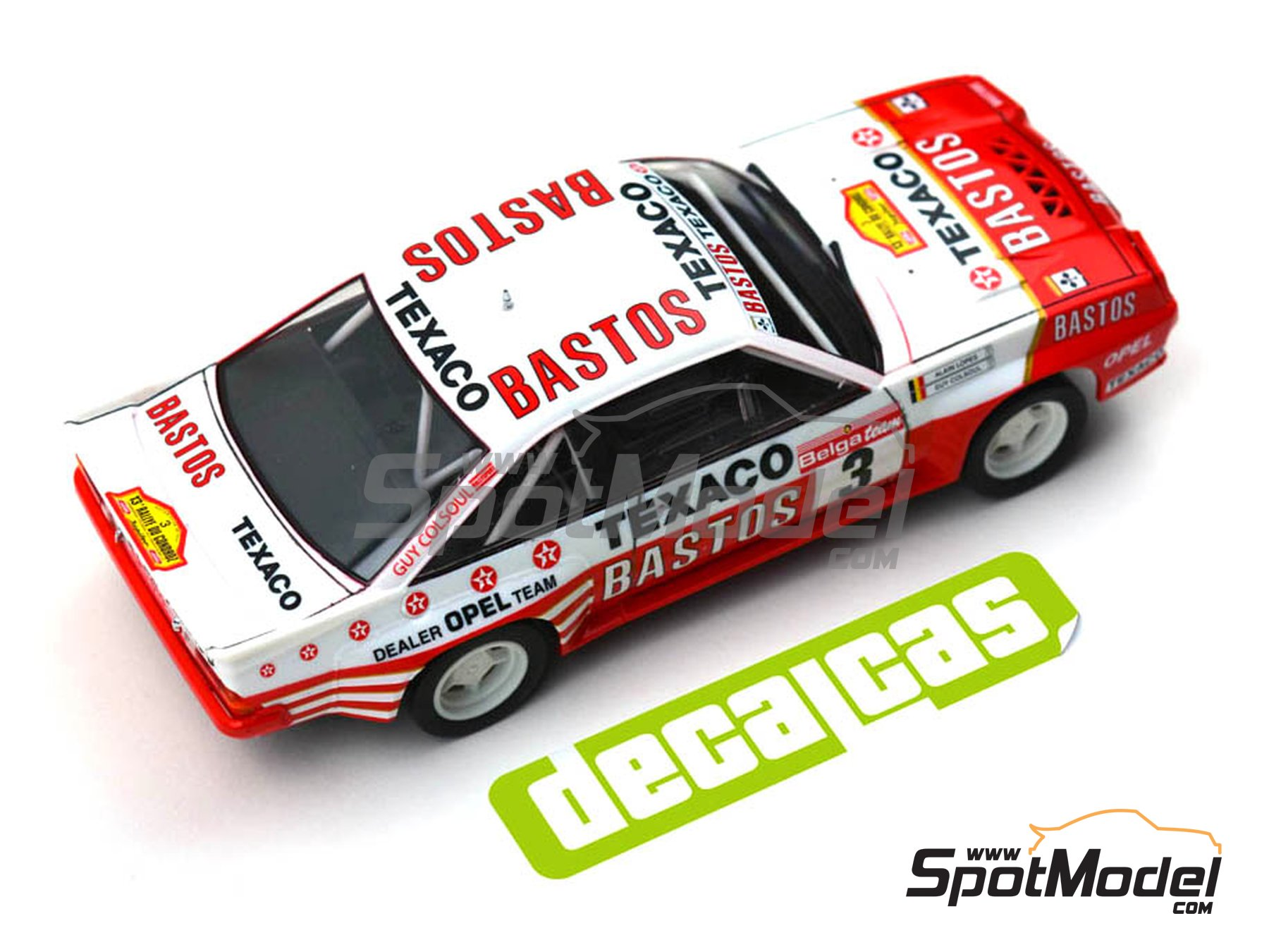 Image 7: Opel Manta 400 Group B Bastos Texaco Rally Team - 24 Hours de Ypres Rally, Condroz Rally, Haspengow Rally 1986 | Marking / livery in 1/24 scale manufactured by Decalcas (ref. DCL-DEC013)