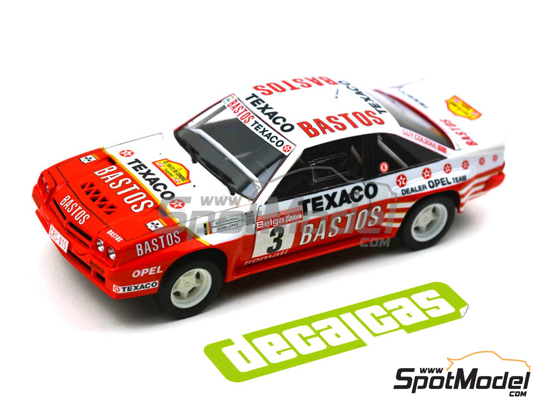 Image 8: Opel Manta 400 Group B Bastos Texaco Rally Team - 24 Hours de Ypres Rally, Condroz Rally, Haspengow Rally 1986 | Marking / livery in 1/24 scale manufactured by Decalcas (ref. DCL-DEC013)
