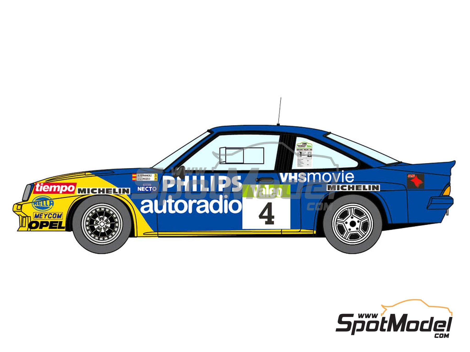 Image 1: Opel Manta 400 Group B Opel Team España - AvD/STH Hunsrück Rallye, Valeo Rally, Rallye Catalunya, Rally Albena - Zlatni Piassatzi - Sliven 1986 | Marking / livery in 1/24 scale manufactured by Decalcas (ref.DCL-DEC017)