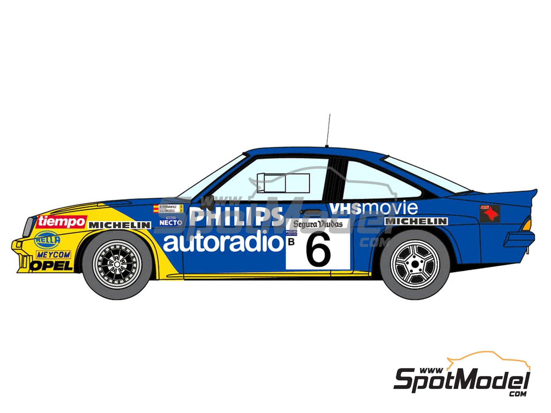 Image 2: Opel Manta 400 Group B Opel Team España - AvD/STH Hunsrück Rallye, Valeo Rally, Rallye Catalunya, Rally Albena - Zlatni Piassatzi - Sliven 1986 | Marking / livery in 1/24 scale manufactured by Decalcas (ref.DCL-DEC017)
