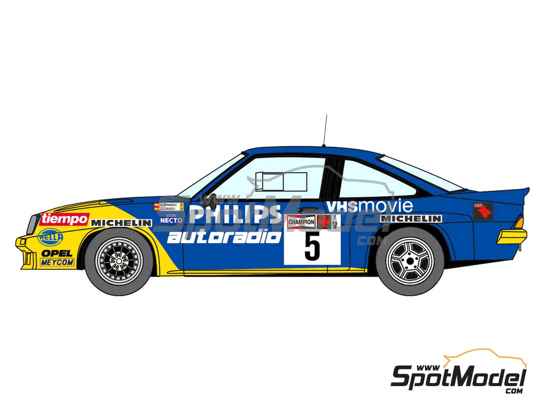 Image 4: Opel Manta 400 Group B Opel Team España - AvD/STH Hunsrück Rallye, Valeo Rally, Rallye Catalunya, Rally Albena - Zlatni Piassatzi - Sliven 1986 | Marking / livery in 1/24 scale manufactured by Decalcas (ref.DCL-DEC017)