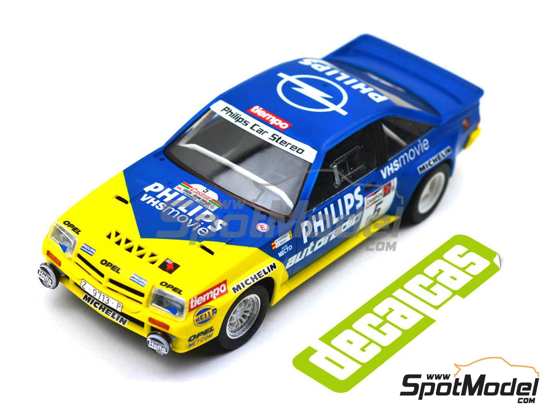 Image 7: Opel Manta 400 Group B Opel Team España - AvD/STH Hunsrück Rallye, Valeo Rally, Rallye Catalunya, Rally Albena - Zlatni Piassatzi - Sliven 1986 | Marking / livery in 1/24 scale manufactured by Decalcas (ref.DCL-DEC017)