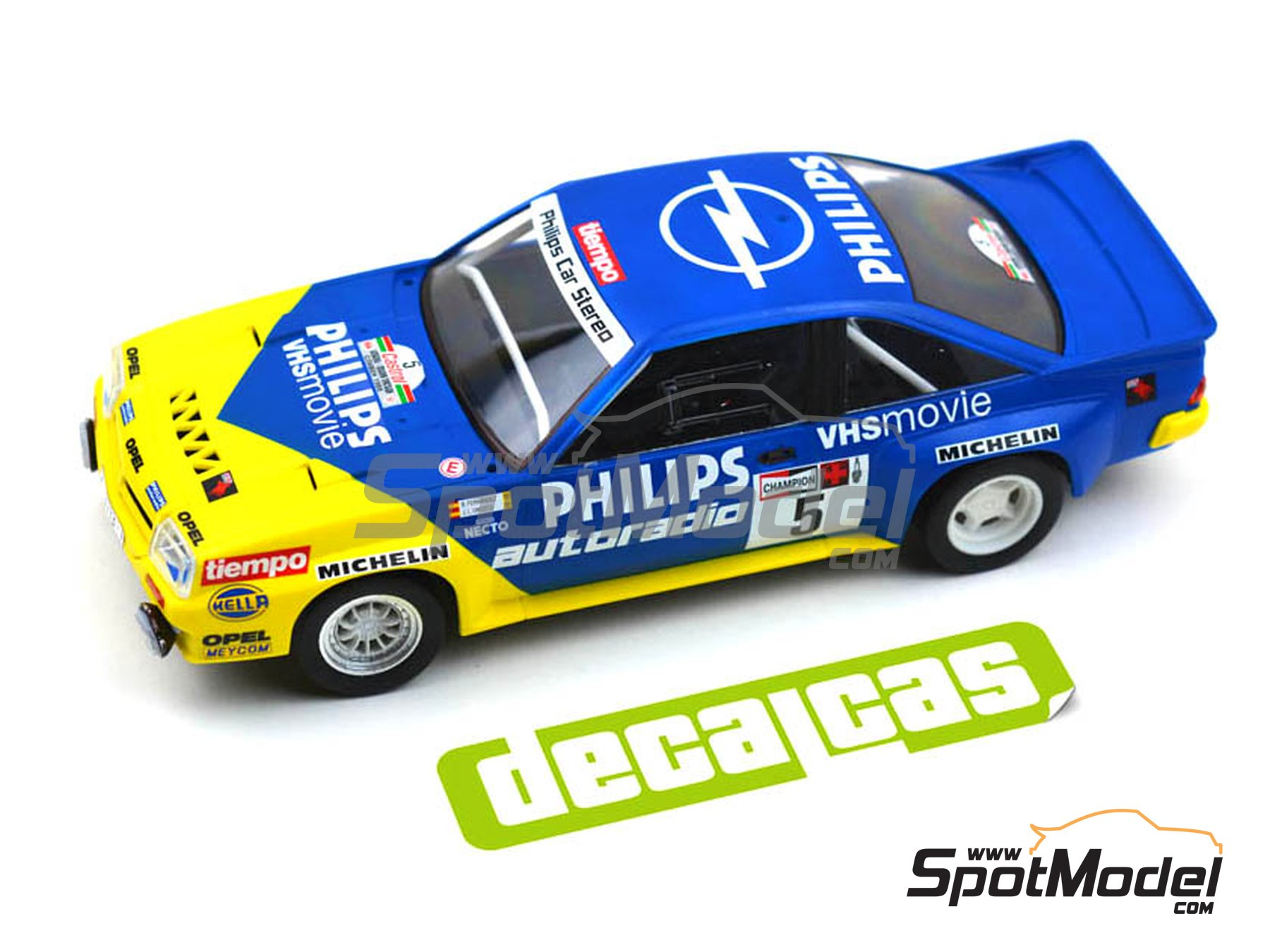 Image 8: Opel Manta 400 Group B Opel Team España - AvD/STH Hunsrück Rallye, Valeo Rally, Rallye Catalunya, Rally Albena - Zlatni Piassatzi - Sliven 1986 | Marking / livery in 1/24 scale manufactured by Decalcas (ref.DCL-DEC017)