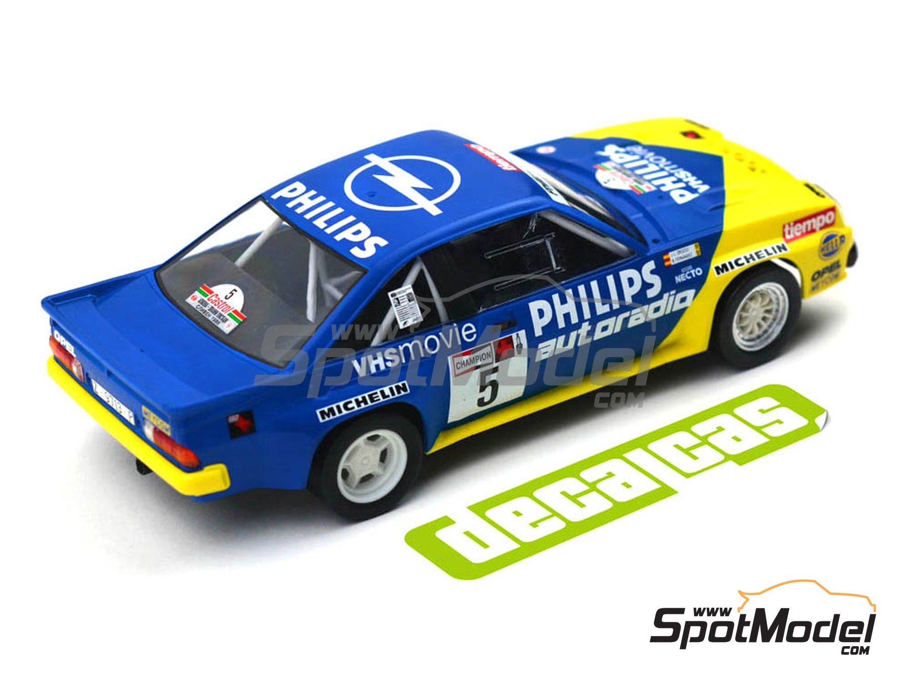 Image 9: Opel Manta 400 Group B Opel Team España - AvD/STH Hunsrück Rallye, Valeo Rally, Rallye Catalunya, Rally Albena - Zlatni Piassatzi - Sliven 1986 | Marking / livery in 1/24 scale manufactured by Decalcas (ref.DCL-DEC017)