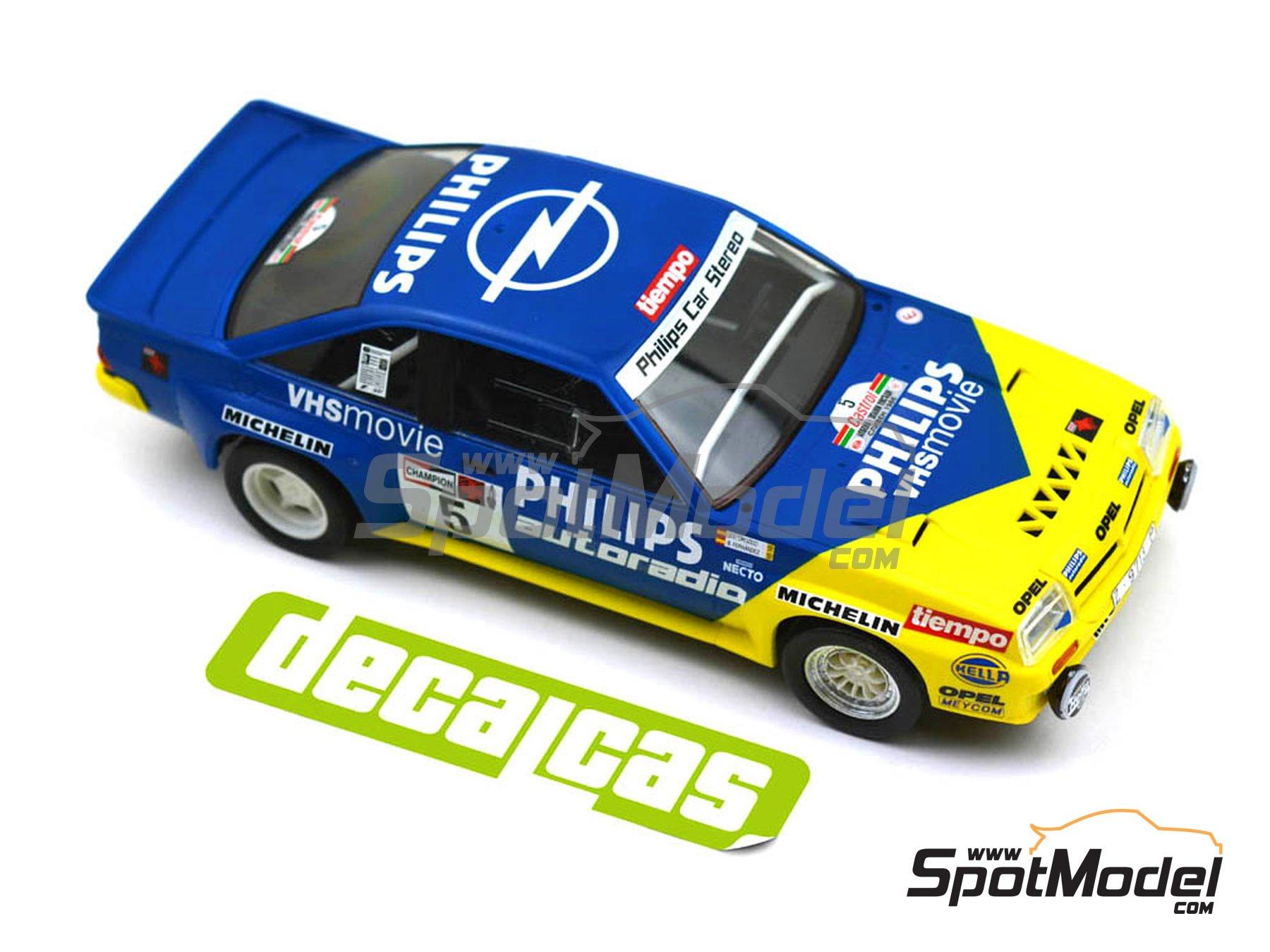 Image 10: Opel Manta 400 Group B Opel Team España - AvD/STH Hunsrück Rallye, Valeo Rally, Rallye Catalunya, Rally Albena - Zlatni Piassatzi - Sliven 1986 | Marking / livery in 1/24 scale manufactured by Decalcas (ref.DCL-DEC017)