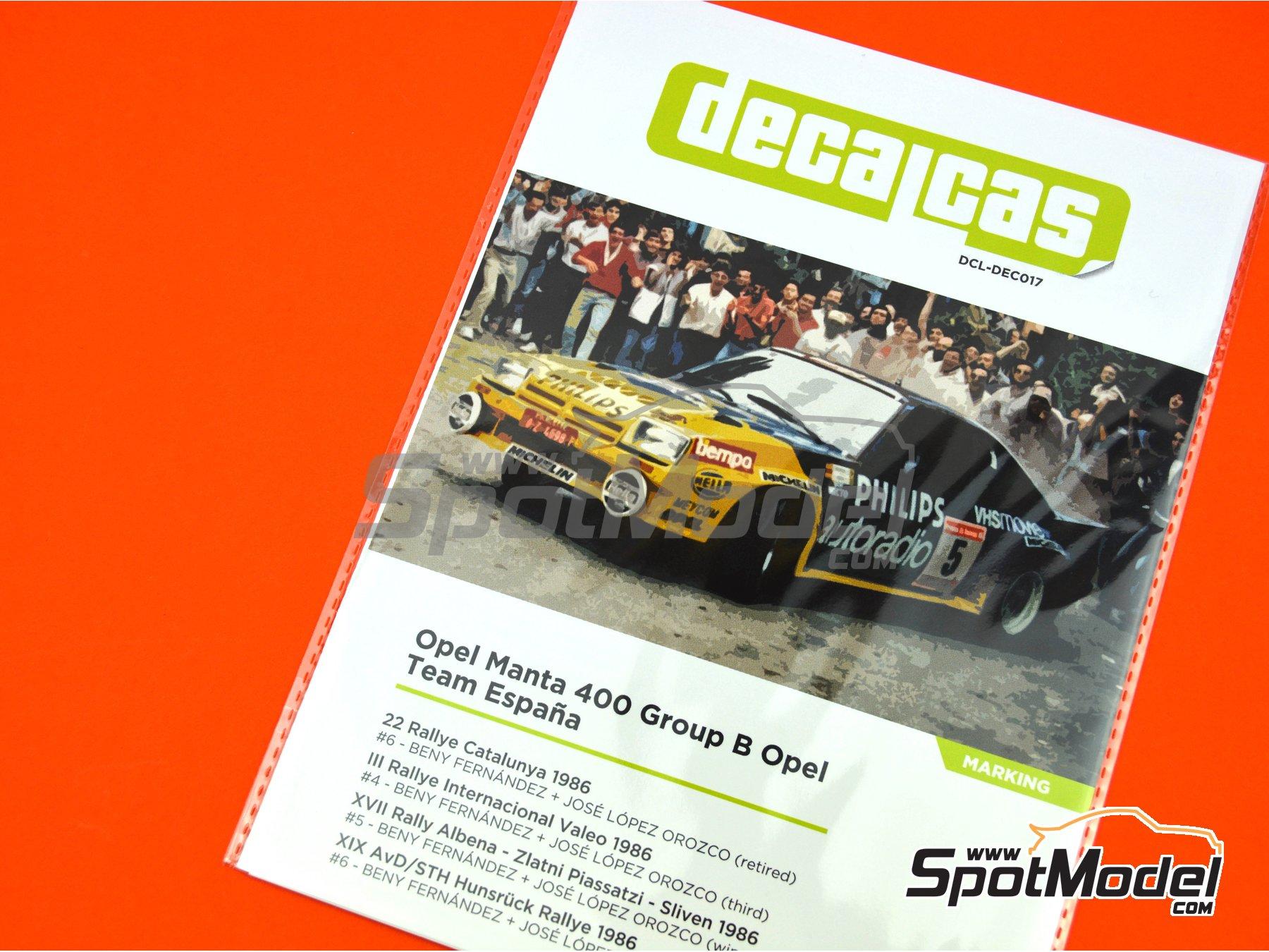 Image 11: Opel Manta 400 Group B Opel Team España - AvD/STH Hunsrück Rallye, Valeo Rally, Rallye Catalunya, Rally Albena - Zlatni Piassatzi - Sliven 1986 | Marking / livery in 1/24 scale manufactured by Decalcas (ref.DCL-DEC017)