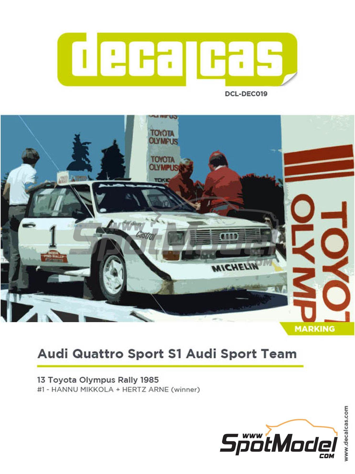 Audi Quattro Sport S1 Audi Sport Team - Toyota Olympus Rally 1985 | Decoración en escala1/24 fabricado por Decalcas (ref.DCL-DEC019) image