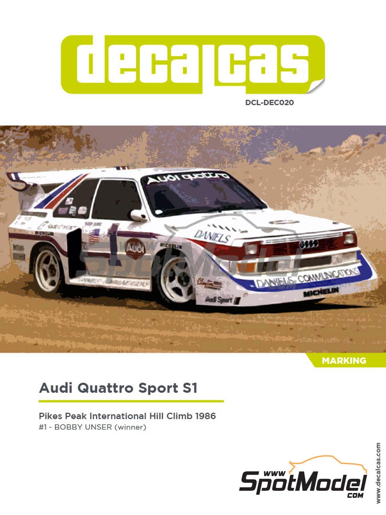 Audi Quattro Sport S1 - Pikes Peak Climb Hill Race 1986 | Decoración en escala1/24 fabricado por Decalcas (ref.DCL-DEC020) image