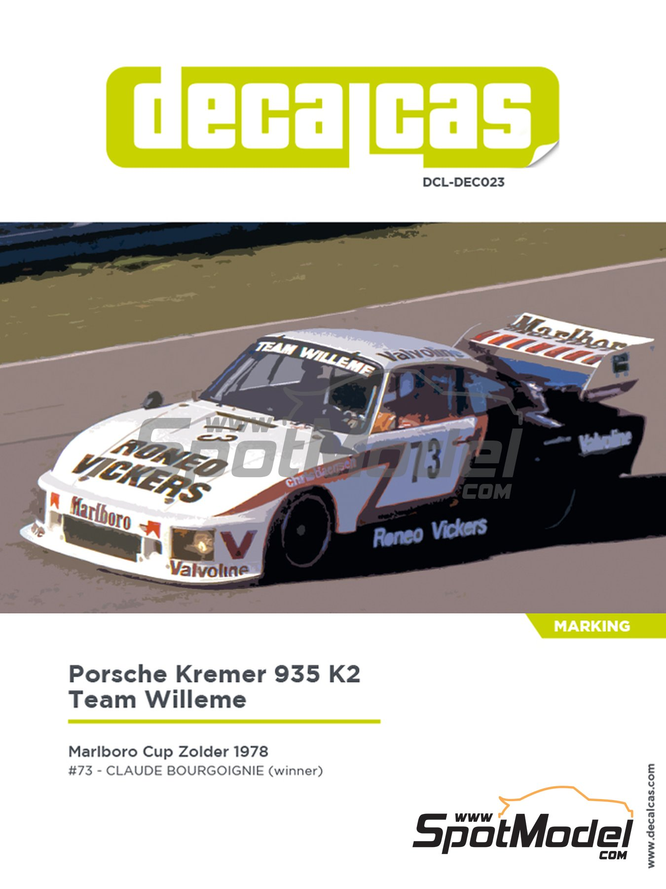 Porsche Kremer 935 K2 Team Willeme - Marlboro Cup Zolder DRM 1978 | Marking / livery in 1/24 scale manufactured by Decalcas (ref. DCL-DEC023) image