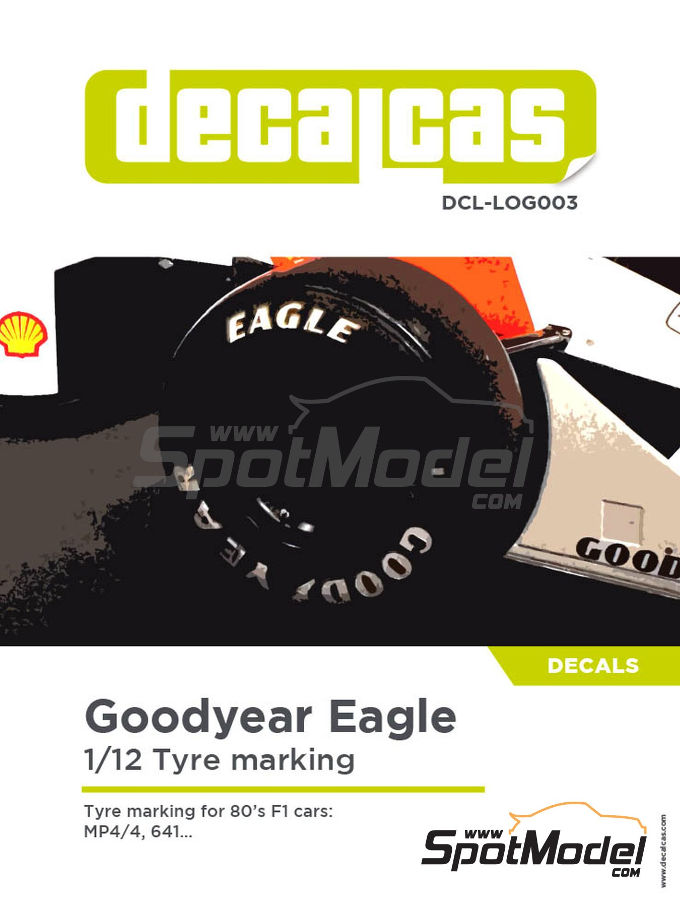 Goodyear logos -  1980, 1981, 1982, 1983, 1984, 1985, 1986, 1987, 1988 y 1989 | Logotipos en escala1/12 fabricado por Decalcas (ref.DCL-LOG003) image